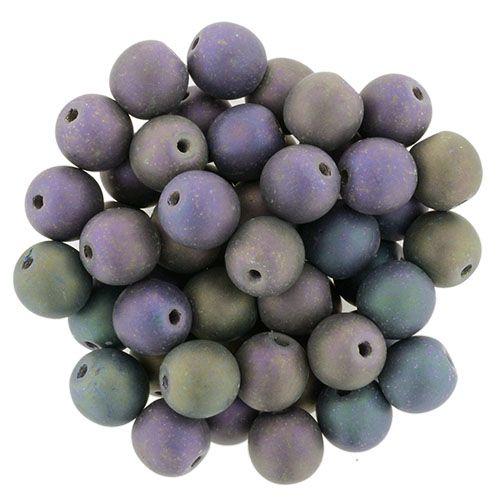 5-06-21195 Round Beads 6mm : Matte Iris Purple