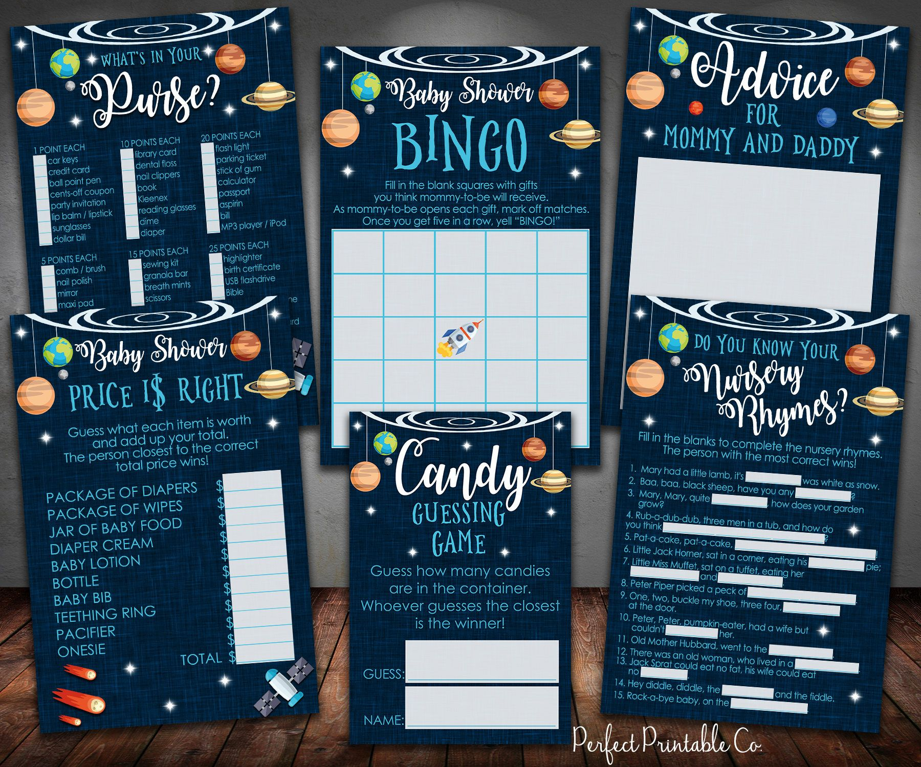 Outer Space Planets Baby Shower Games Package Bundle, Bingo, What\'s ...