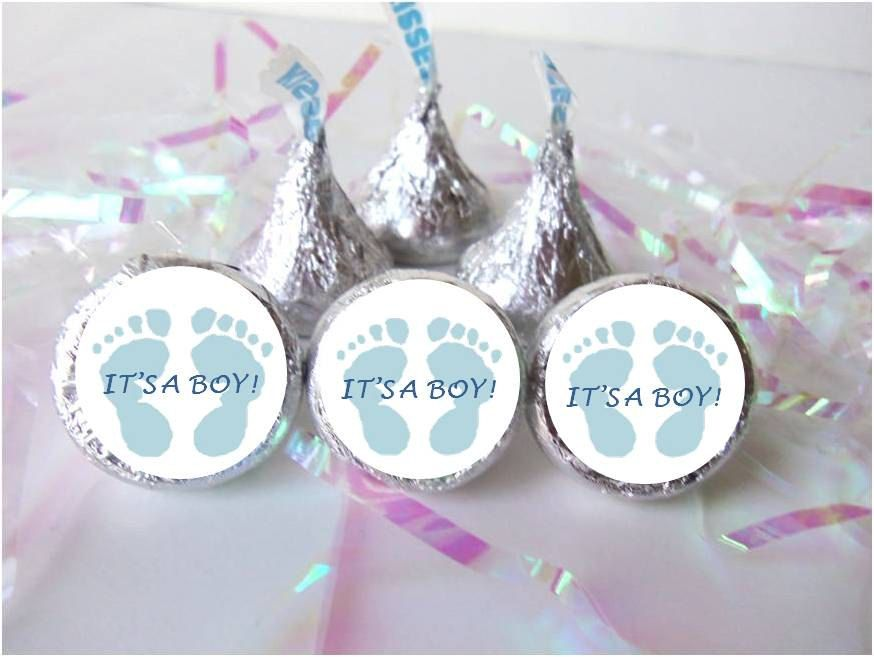 Baby Shower Favors Labels ~ Its a boy footprints blue baby feet shower favors candy stickers