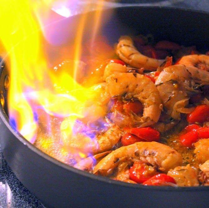 Inspired By ERecipeCards: FLAMING Shrimp (Gambas Flambees