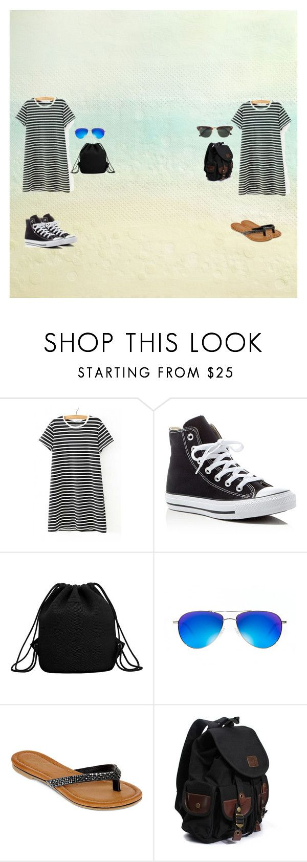 """""""beach bumbs"""" by ivylovesyou143 on Polyvore featuring WithChic, Converse, MANGO, Oliver Peoples, Diba and Ray-Ban"""