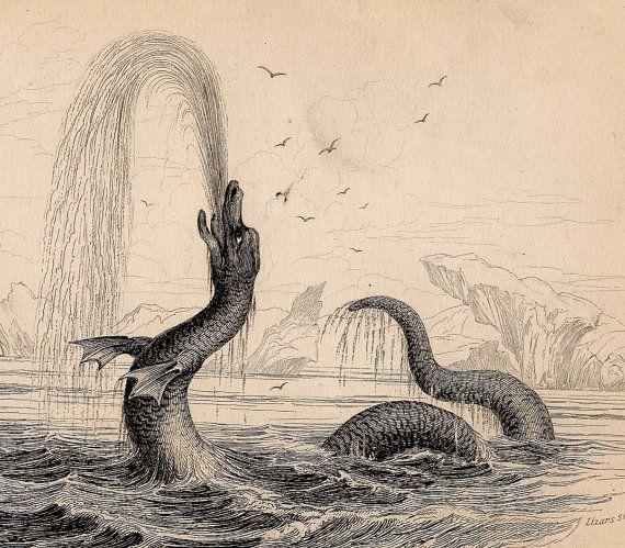 Sea Serpent Monster Antique Print Loch Ness Monster Lake Monsters Sea Serpent