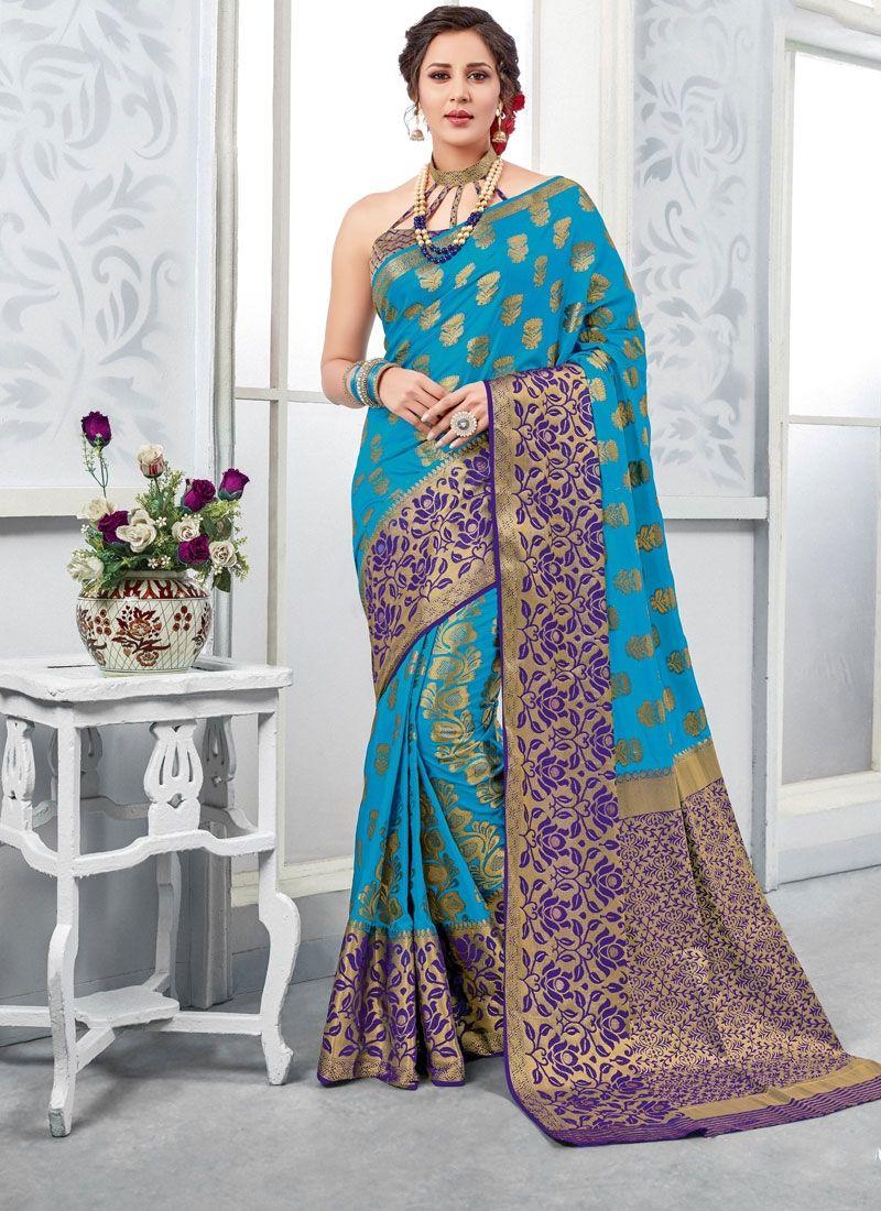 71cc9a61136ce3 Sparkling Sky Blue Color Printed Art Silk Saree