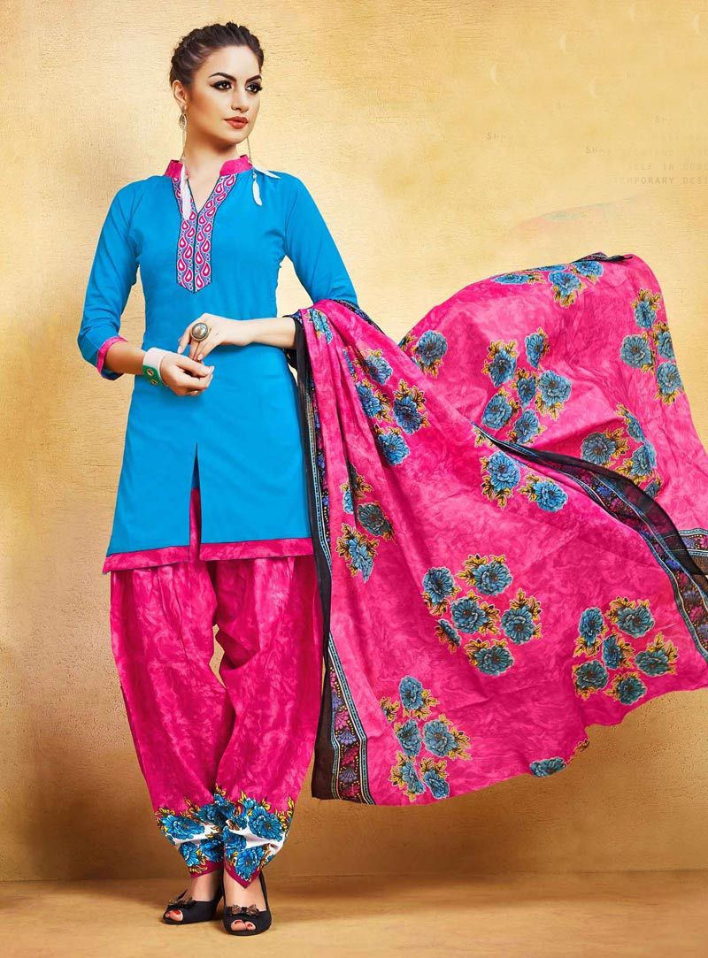 Buy Blue Cotton Patiala Suit 85940 online at lowest price from huge collection of salwar kameez at Indianclothstore.com.