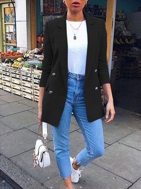 Photo of Women plain turn down collar long sleeve button blazers