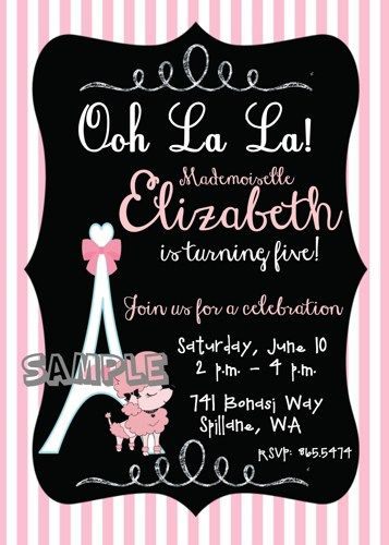 Pink poodle parisian themed girl birthday party invitation digital birthday party ideas pink poodle parisian themed girl birthday party invitation filmwisefo