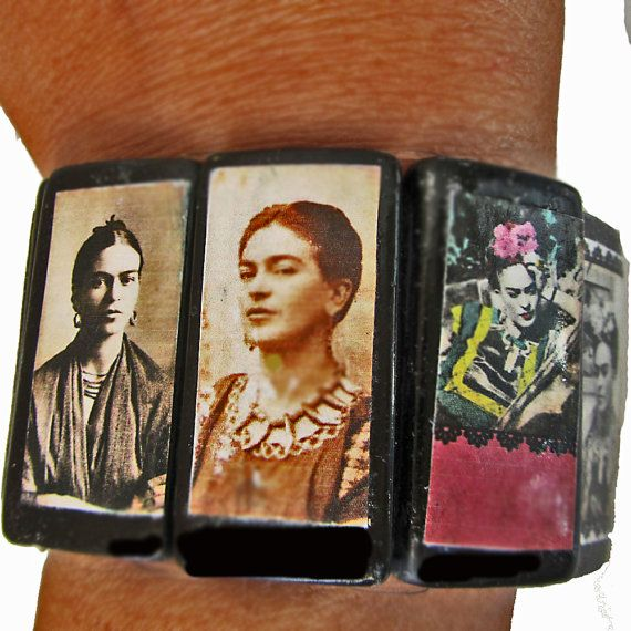 cuff elastic bracelet with photos on bamboo tiles of Frida Kahlo