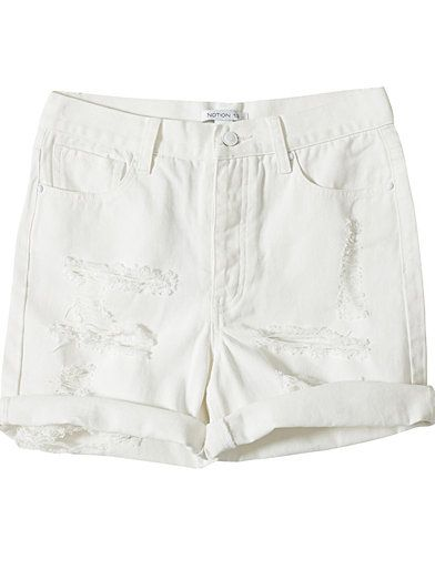 Ripped Denim Shorts - Notion 1.3 - Wit - Broeken & Shorts - Kleding - Vrouw - Nelly.com