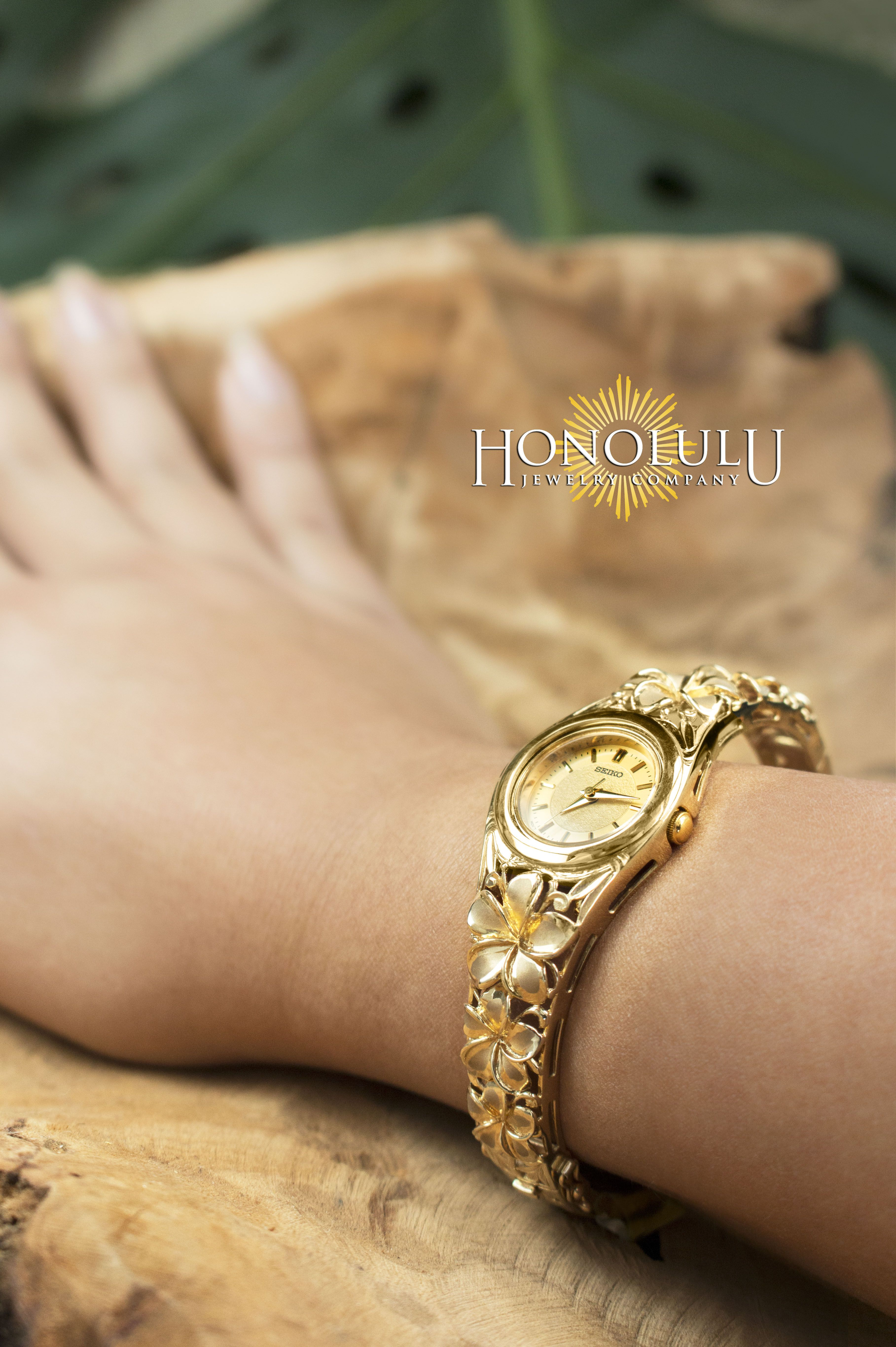 Plumeria Watch! 14K Gold Plumeria Bangle Watch. Seiko Movement ...