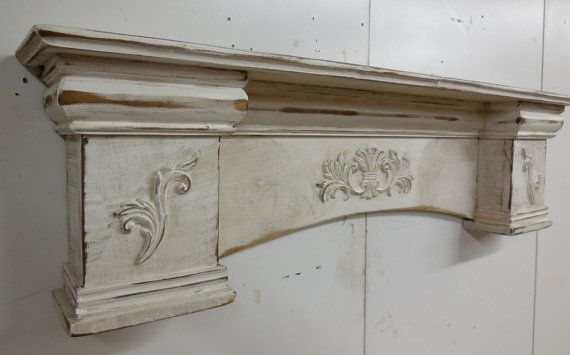 French Country Mantle Primitive Mantle Fireplace Mantel Shabby Style Mantel Shelf