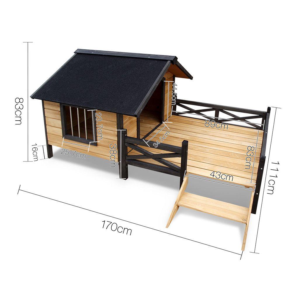 Timber Dog House with Deck Black (Görüntüler ile