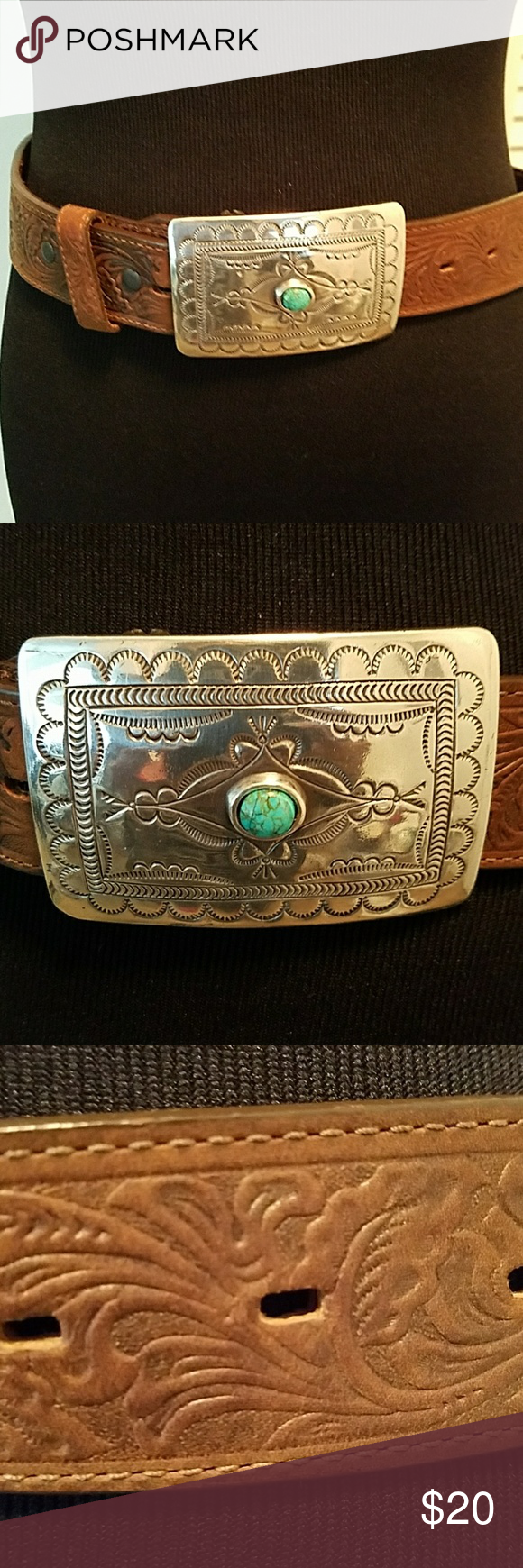 TONY LAMA LEATHER BELT WITH BUCKLE Pre owned in good condition but does show wear. Tony Lama Accessories Belts