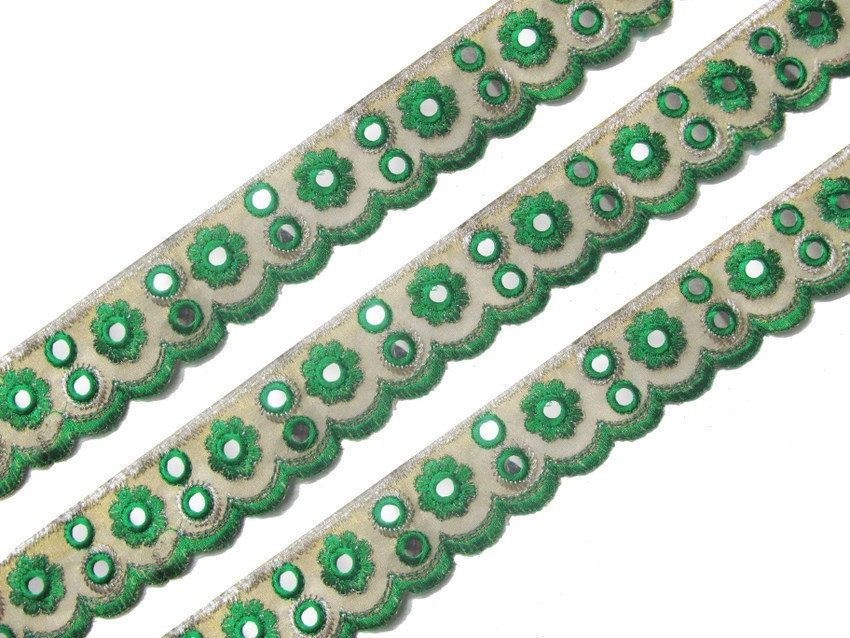 Free Shipping Mirror Embroidered Green Fabric Trim Sewing Sari Border Dress  Lace Craft Decorated Indian By