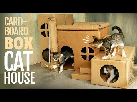 CAT HOUSE DIY CARDBOARD BOX IDEAS