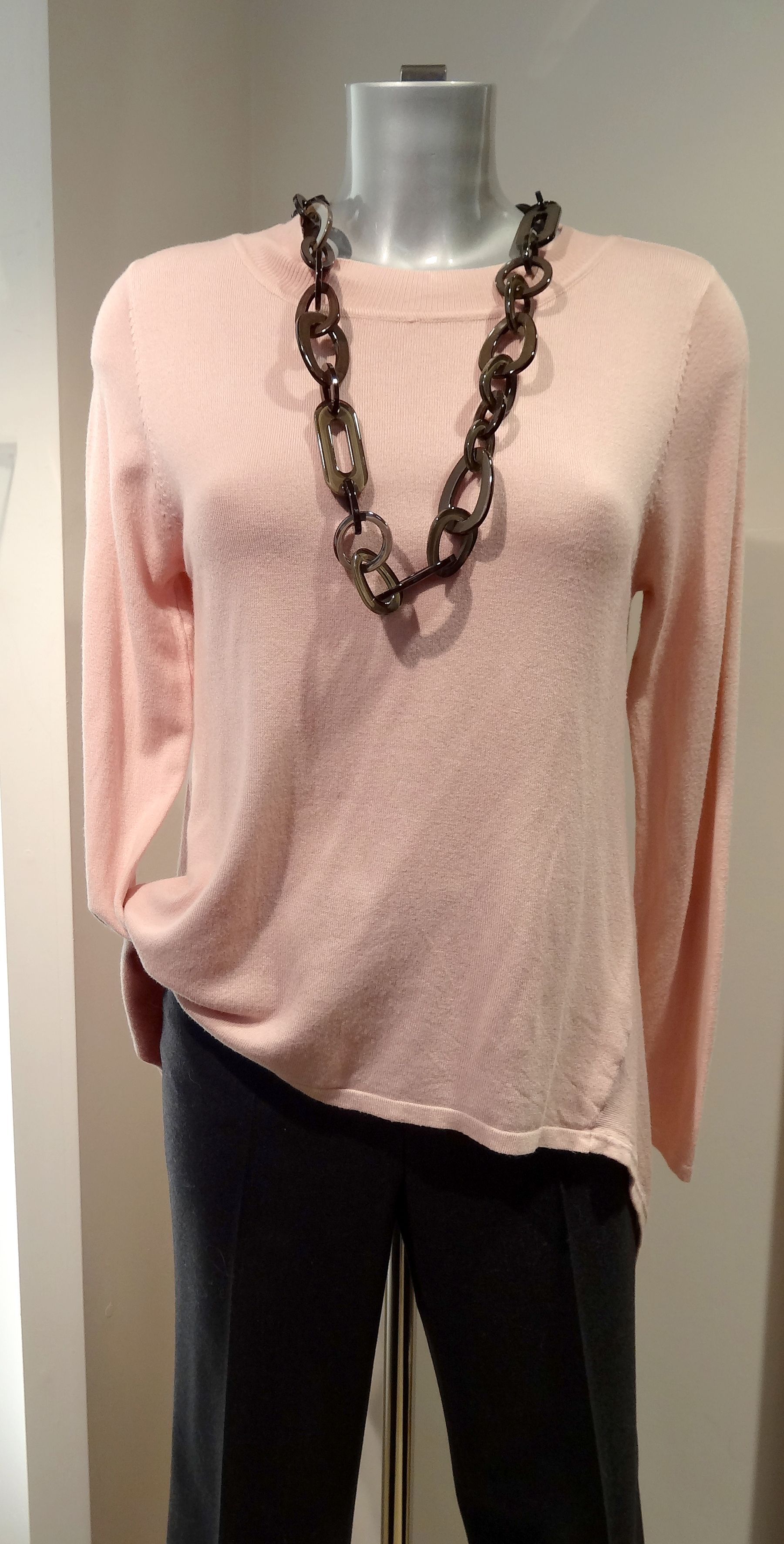 D.E.C.K. by Decollage dip back jumper – £59, Gardeur trousers – £99, Sarl necklace – £35. Available at Sister