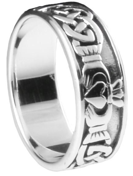 Menu0027s Claddagh Rings | Silver Irish Celtic Claddagh Mens Band Ring
