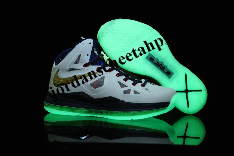 Glow in the Dark Nike Zoom Lebron James X 10 White/Navy Blue/Gold Medal Mens