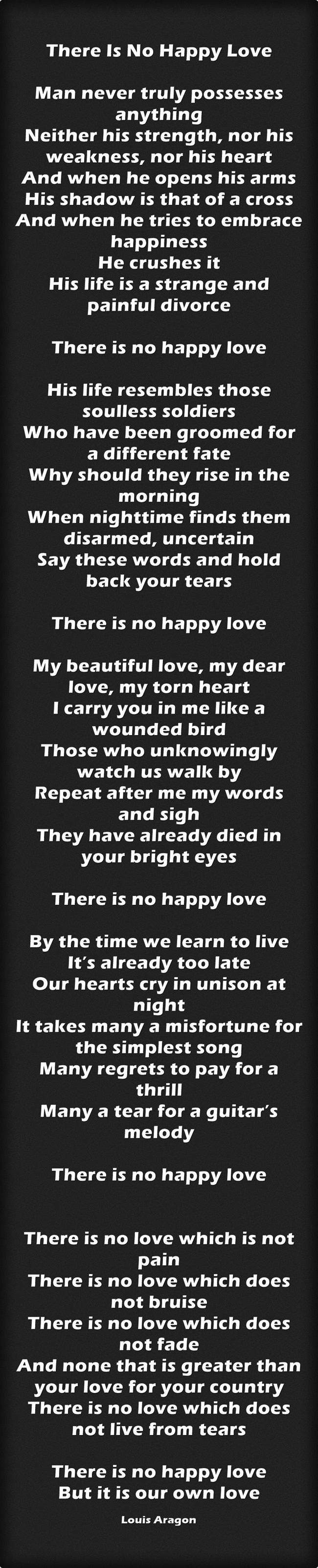 There Is No Happy Love by Louis Aragon
