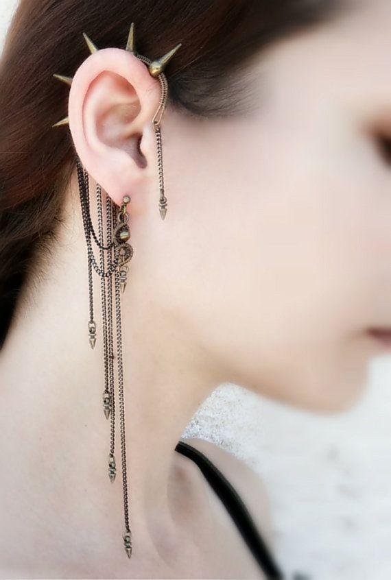 Spike Ear Cuff Wrap Chain Earrings By Mayahandmade