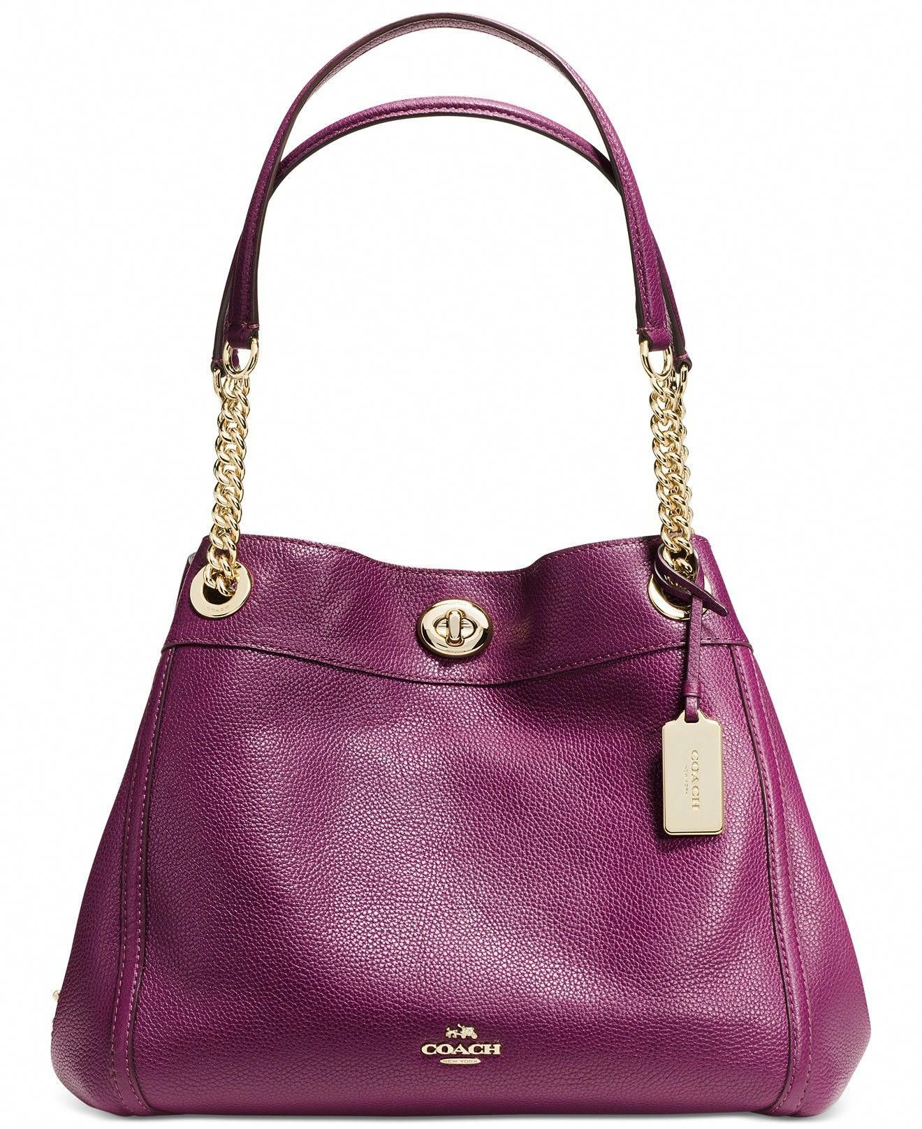ba063a1c5d COACH TURNLOCK EDIE SHOULDER BAG IN PEBBLE LEATHER - Handbags   Accessories  - Macy s  Designerhandbags