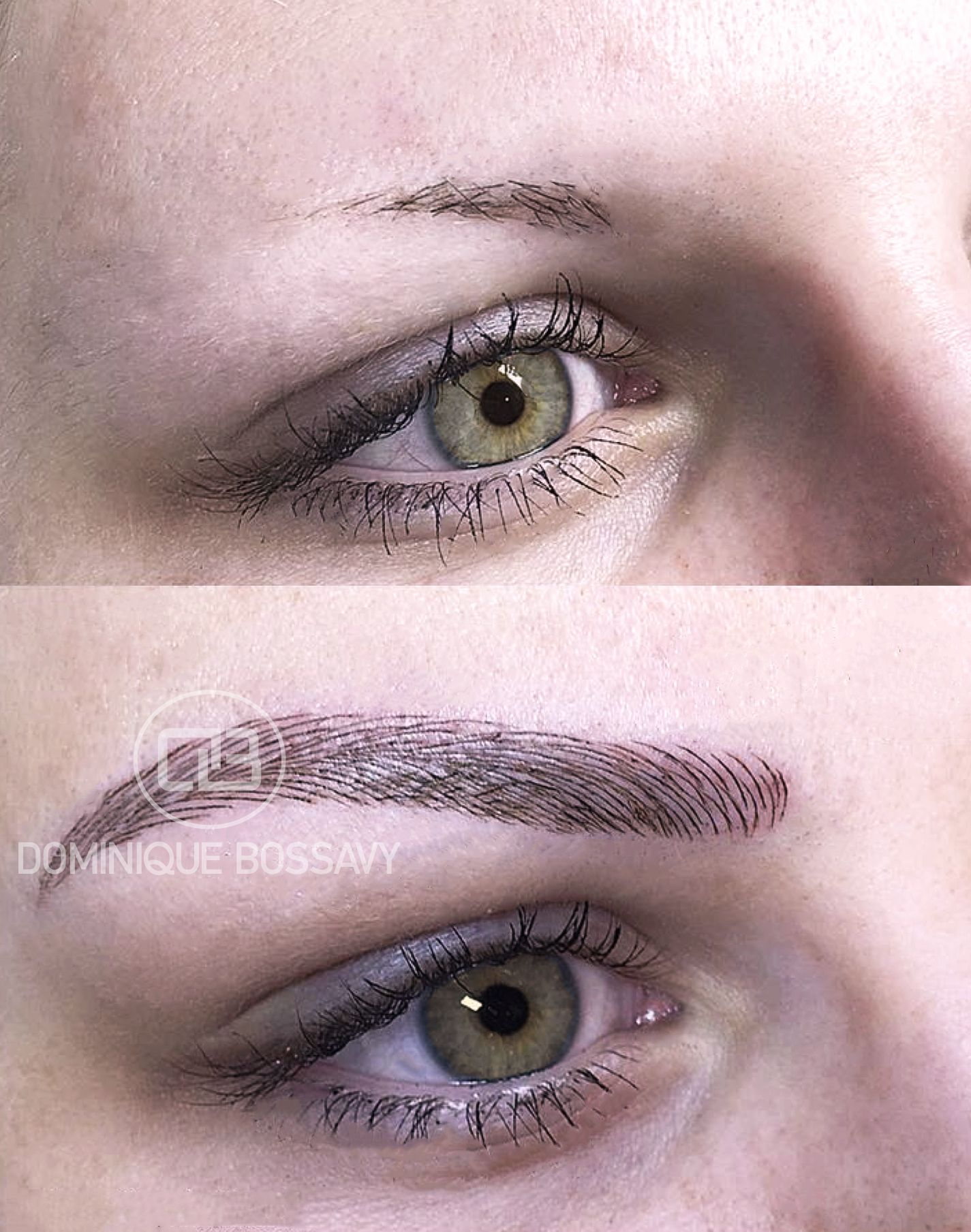 Before/After Eyebrows - Micro Color Infusion treatment of Dominique Bossavy, Permanent makeup Artist.