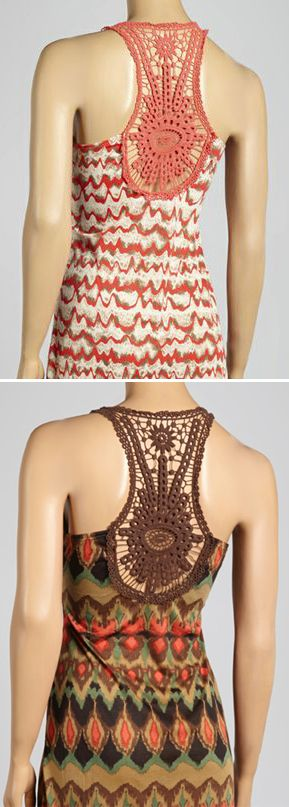 Perfect for a spring or summer day! Love the crochet detailing in these maxi dresses.