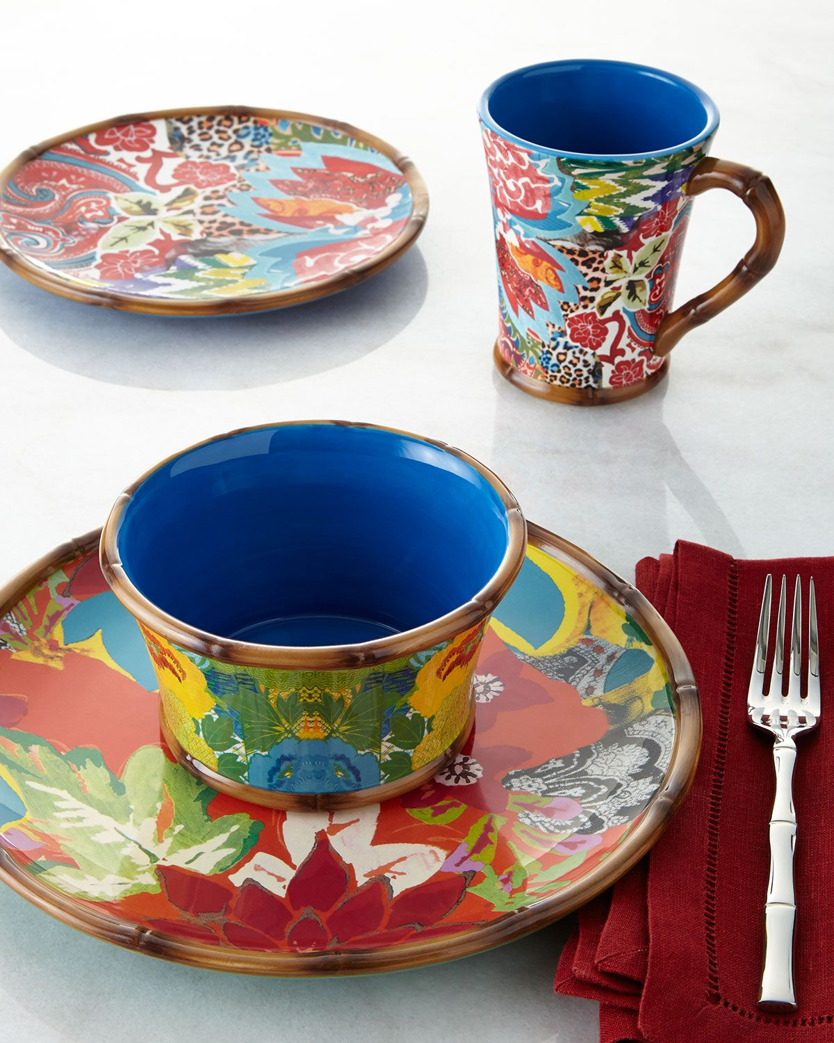 16-Piece Hand-Painted Dinnerware Service Multi Colors - Tracy Porter for Poetic & 16-Piece Hand-Painted Dinnerware Service Multi Colors - Tracy ...