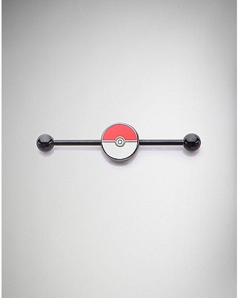 Pin By Jazmin Nichol On Tattoo Piercing Ideas: 14 Gauge Black Pokeball Pokemon Industrial Barbell