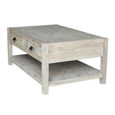 Modern Rustic Coffee Table Gray Wash International Concepts
