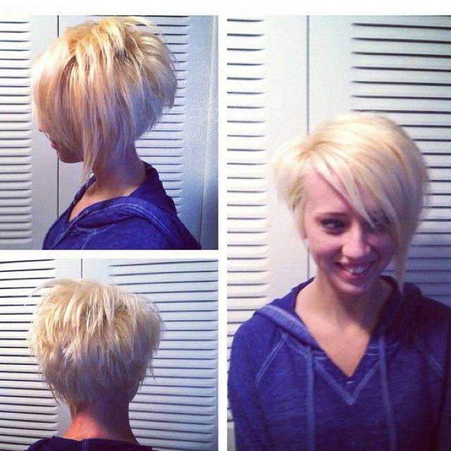 Short hair! Asymmetrical cut! LOVE LOVE!! But not one side shorter both same!! Love the BACK!!