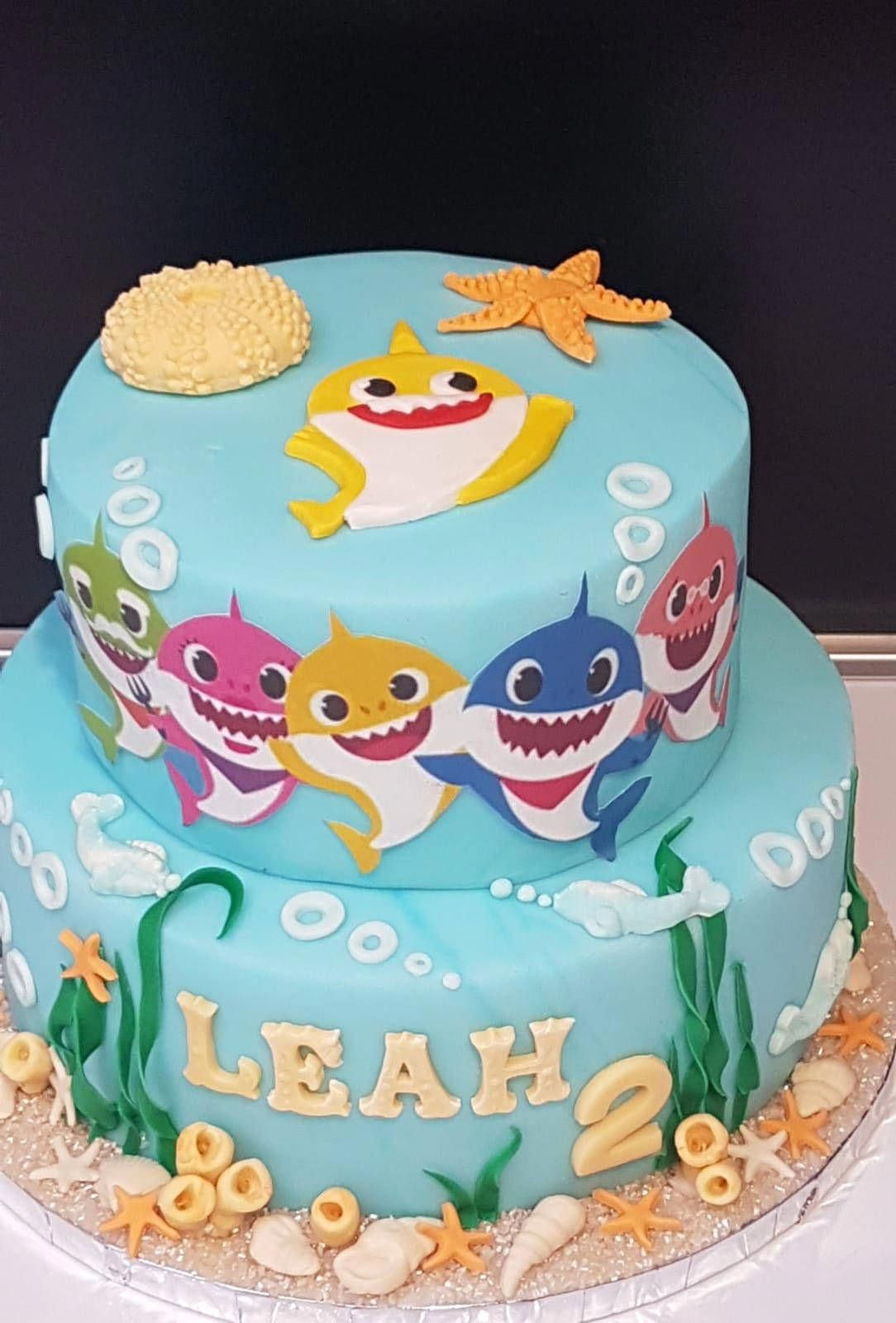 Baby Shark Two Tier Cake With Images Baby Boy Birthday Cake