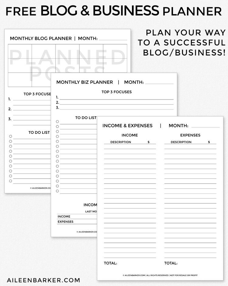 FREE Blog and Business Planner Printable Business