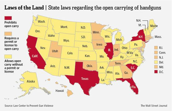 Map Where Is Open Carry Legal Numbers Guns And Conceal Carry - Us open carry map