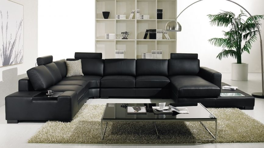 Cozy Black Leather Sofas For Elegant Living Room Sectional Sofa Design Integrated With Small Coffee Table Stylish Look