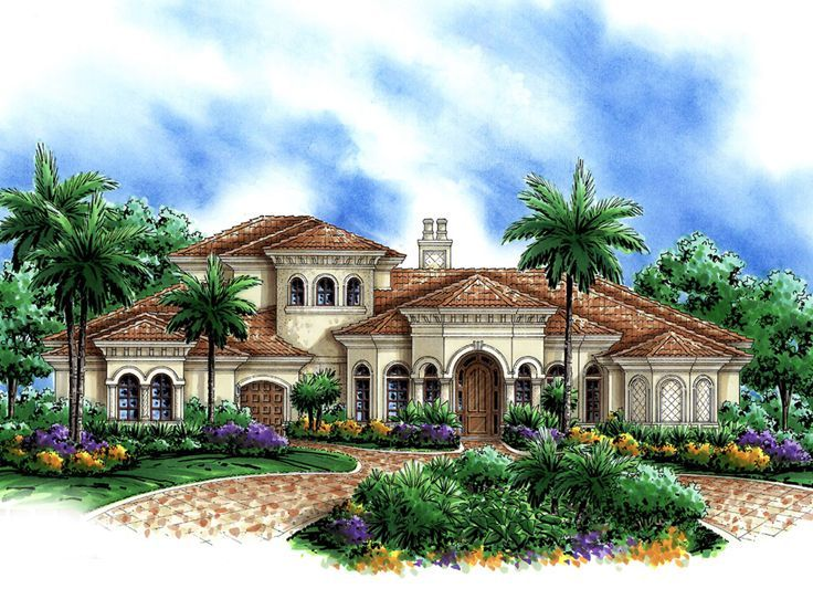 Mediterranean Home Plan Beautiful houses Pinterest House