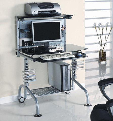 Glass Top & Steel Frame Ergonomic Computer Desk – OfficeDesk.com