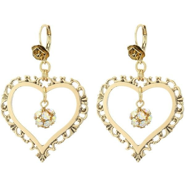 Betsey Johnson Throwback Betsey Large Heart Earrings (Crystal) Earring ($35) ❤ liked on Polyvore featuring jewelry, earrings, hoop earrings, heart shaped earrings, heart shaped jewelry, heart jewelry and rose jewellery