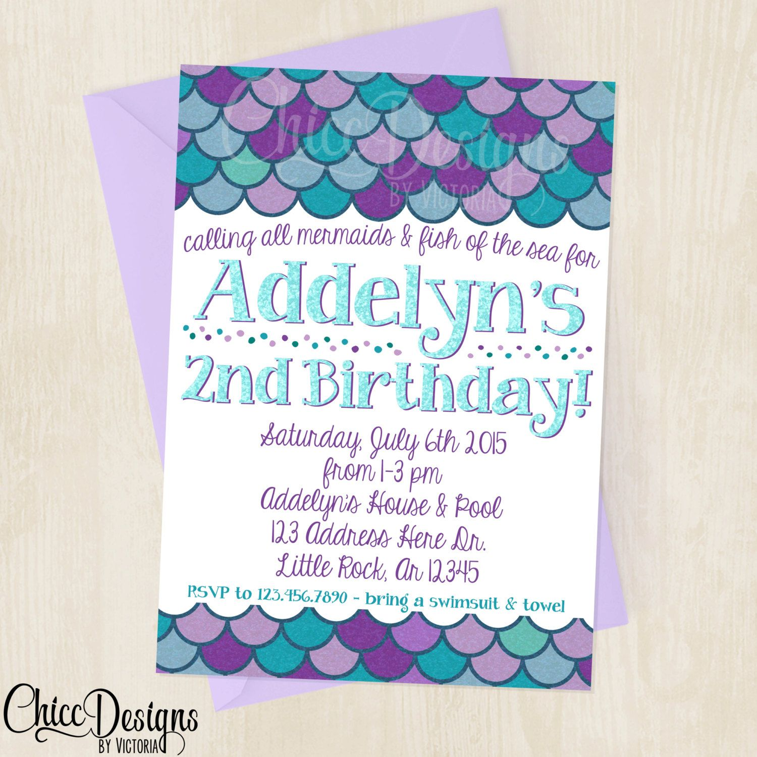 Mermaid Fishes Birthday Invitation Mermaid Purple Teal