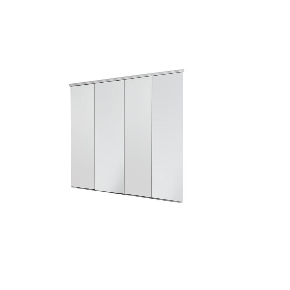 Impact Plus 144 In X 96 In Smooth Flush Primed Solid Core Mdf Interior Closet Sliding Door With Matching Trim