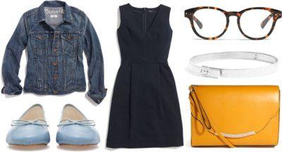 gallerist by peppahwood featuring Vintage Eyewear  Madewell stretch dress / Madewell jacket / Zara footwear / ASOS flap purse / Madewell ste...