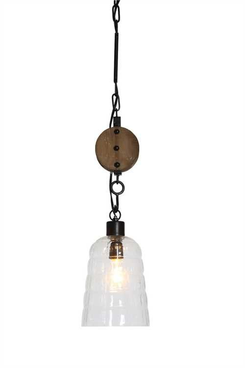 Round Glass Hanging Pendant Lamp With Wood Pulley