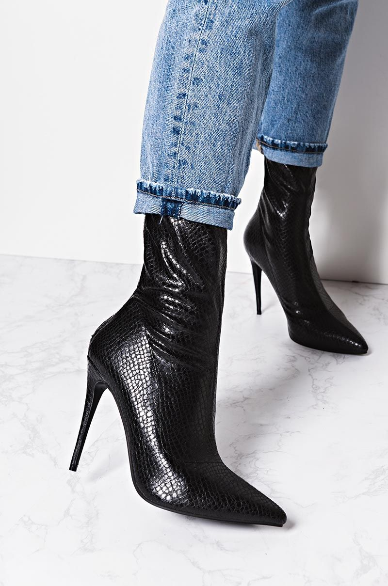 7e26cd79b84 AKIRA High Stiletto Heel Zip Up Pointed Toe Glimmer Faux Snakeskin Booties  in Black White Snake