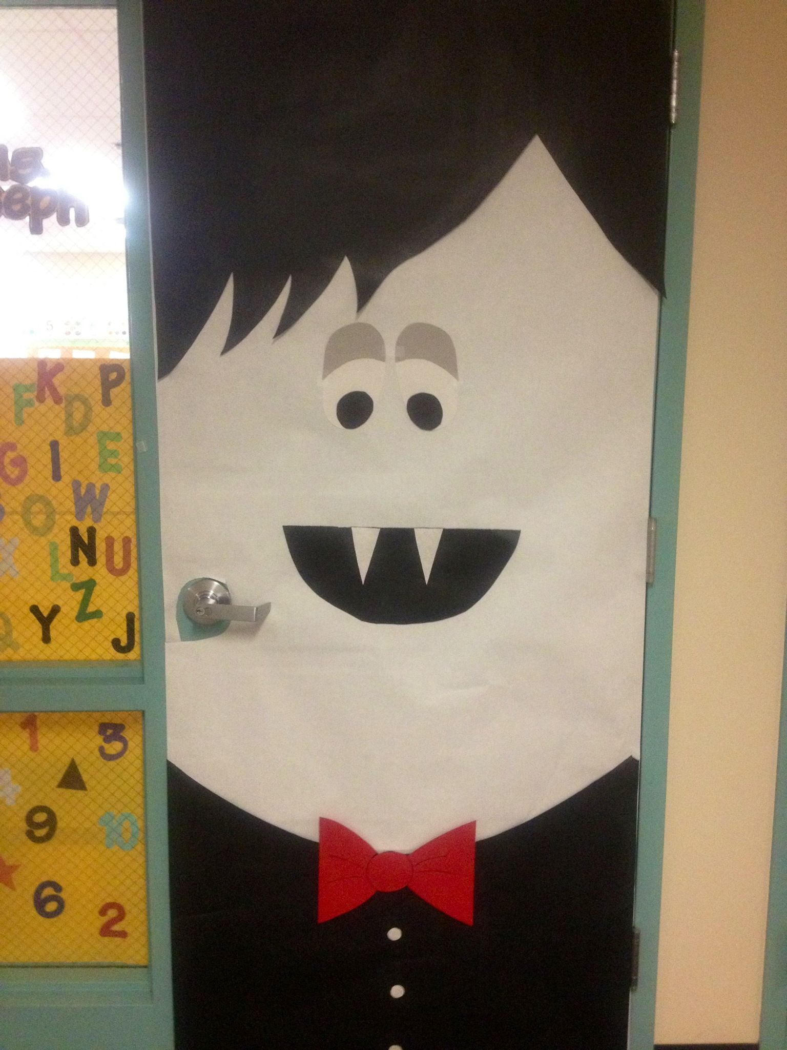 Vampire classroom door decoration that i made up all on my very own - Halloween Door Decorations