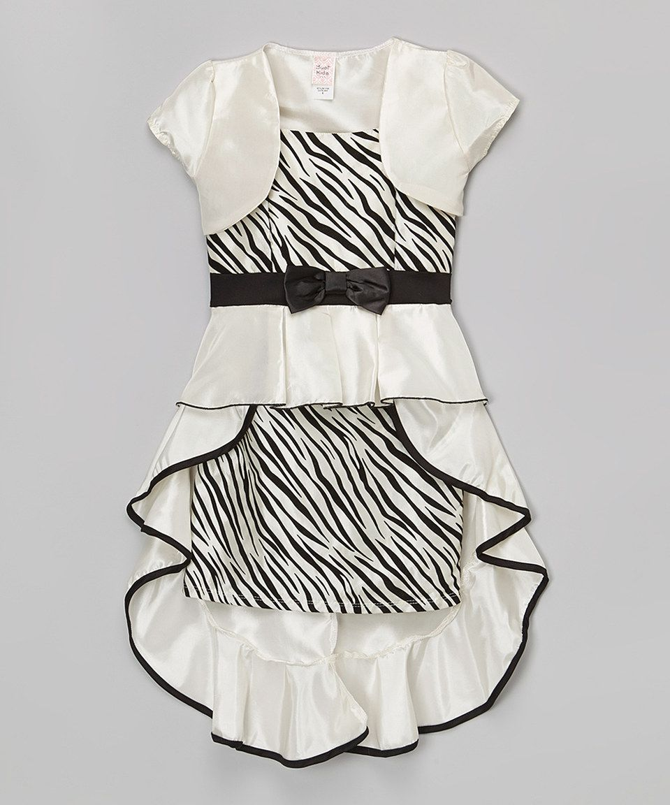 Another great find on #zulily! White Zebra Bow Dress & Bolero - Toddler & Girls by Just Kids #zulilyfinds