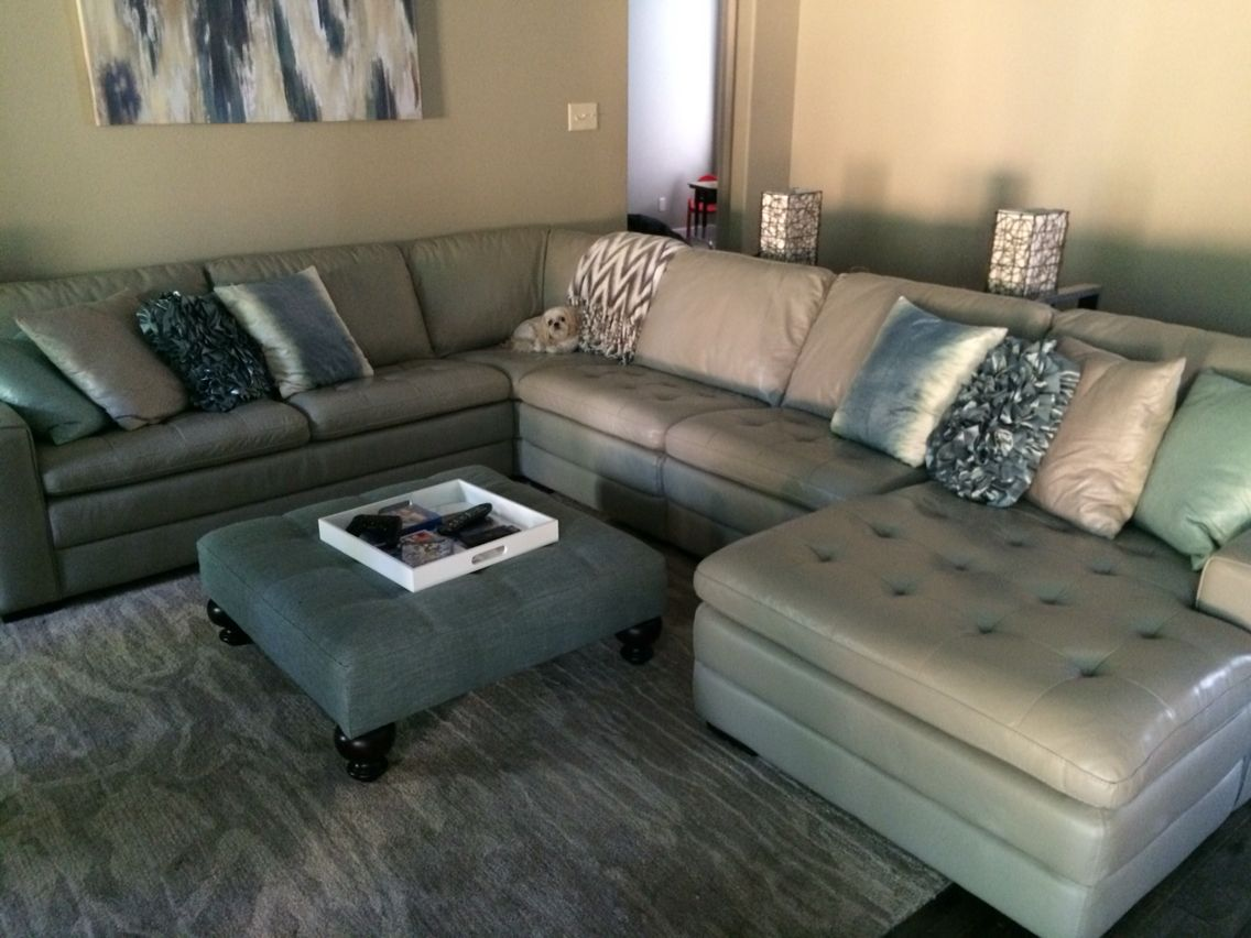 My Gray Leather Sofa Sectional From Haverty S With Accents Of Blue