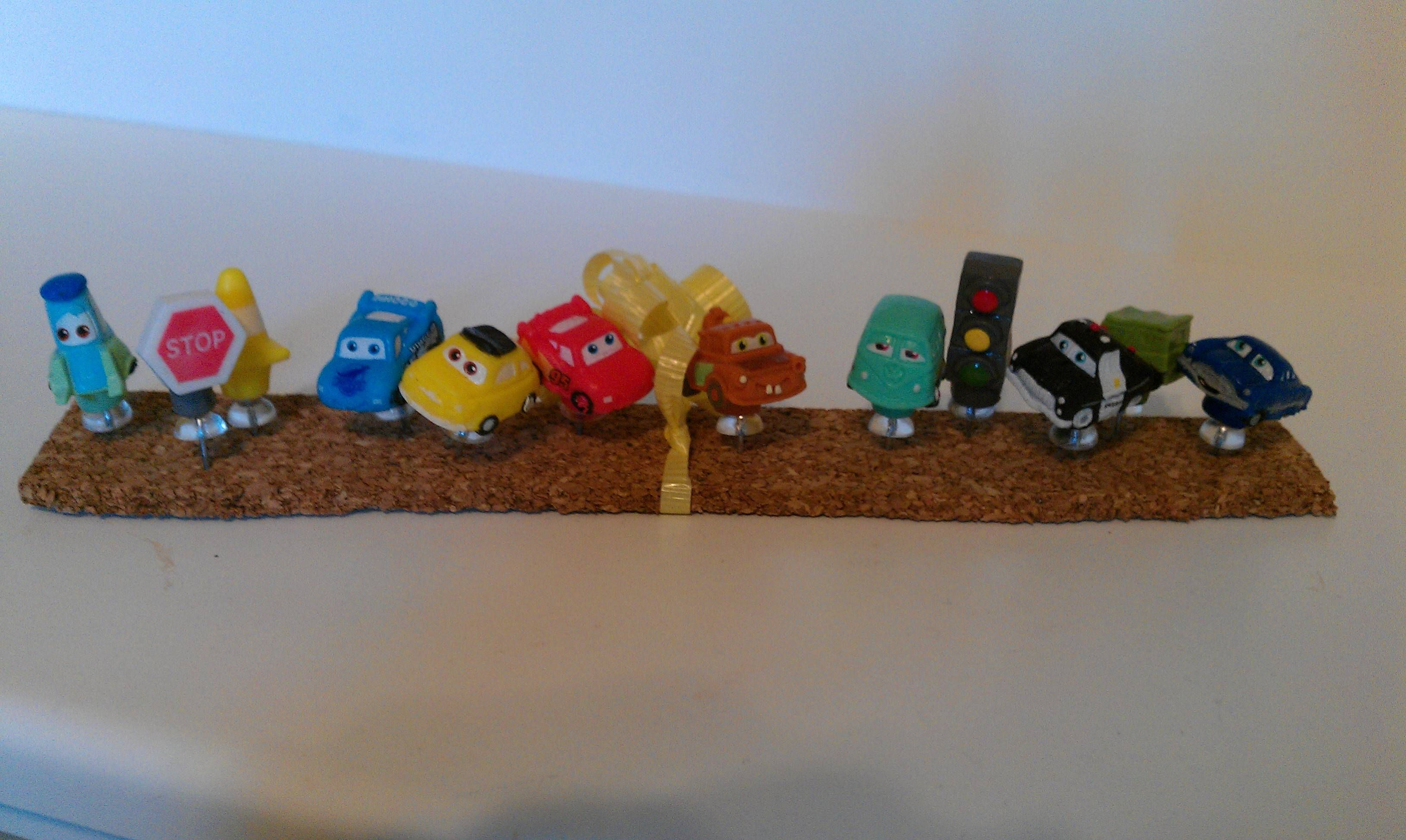 CARS Pencil toppers superglued to push pins for the cork board