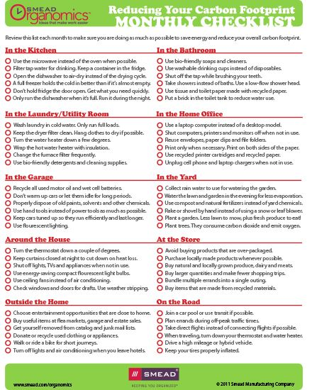 Reduce your carbon footprint checklist \u003d) Checklists and