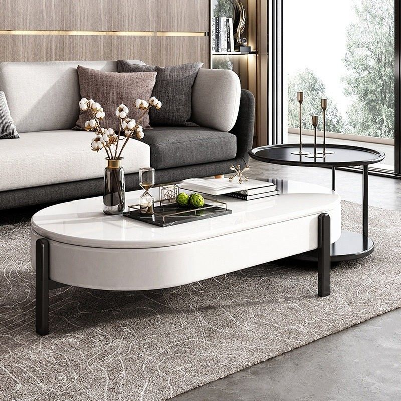 Lift Top Storage Coffee Table And Side Table Set Modern Oval Coffee Table White And Black Lacquer Table In 2020 Table Decor Living Room Modern Furniture Coffee Table
