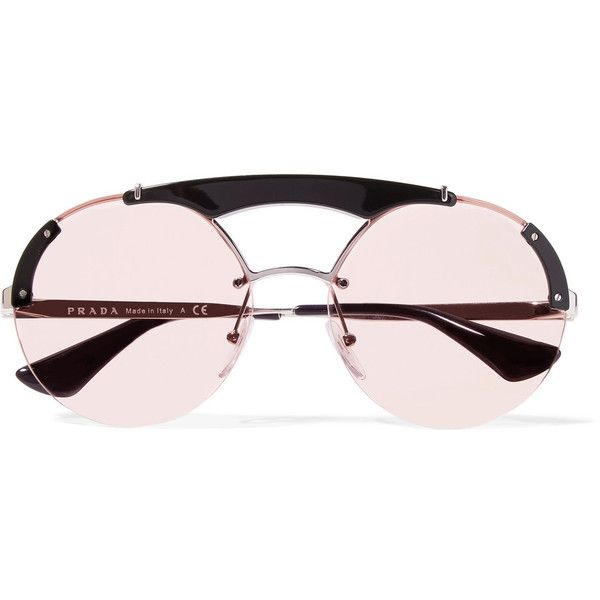 998c39d8019a8 Prada Round-frame acetate and silver-tone sunglasses ( 410) ❤ liked on Polyvore  featuring accessories