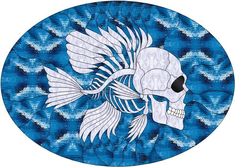 Fish skull free pattern from john 39 s stained glass patterns for Stained glass fish patterns